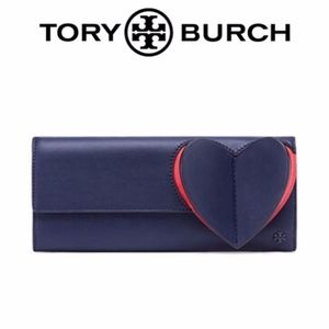 Tory Burch Heart Navy/Red Leather Clutch